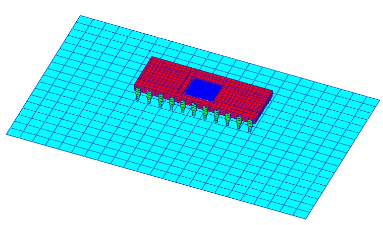 A detailed model of a Dual-inline-Package (DIP) mounted to a simple representation of a printed circuit board (PCB).