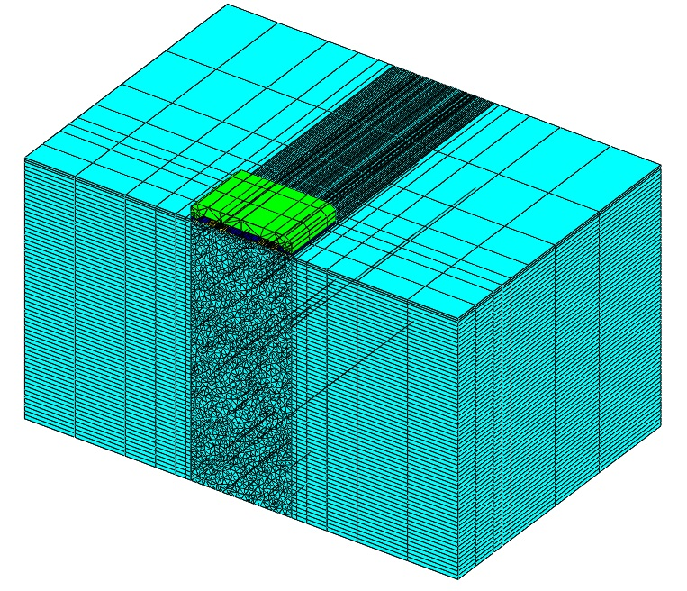 GaAs chip showing mesh and colored by properties